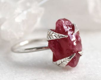ruby ring, raw ruby, prong setting, sterling silver, recycled silver, raw gemstone jewelry, stacking ring, leaf ring
