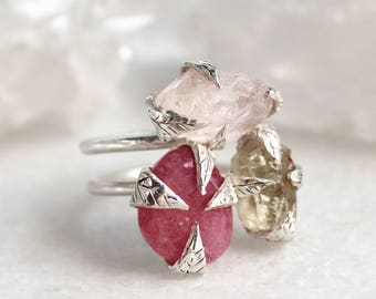 sapphire ring, rose quartz ring, sunstone ring, sterling silver, recycled silver, leaf ring, fall fashion, double band