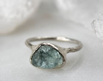 aquamarine ring, silver ring, statement ring, recycled silver, hand carved ring, gifts for her, cocktail ring, aquamarine