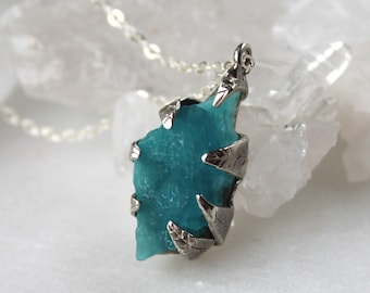 chrysocolla necklace, gem silica, druzy necklace, sterling silver, recycled silver, leaf necklace, fall fashion