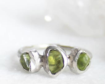peridot ring, raw peridot ring, rough peridot, recycled silver, gifts for her, august birthstone