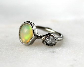 fire opal ring, opal ring, recycled silver, statement ring, fire opal, yellow opal, diamond ring, opal jewelry