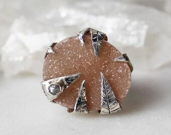 druzy statement ring, raw diamond ring, druzy ring, recycled silver ring, natural gemstone ring, leaf ring