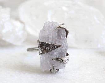 kunzite ring, raw kunzite, pink kunzite, gold ring, raw gemstone jewelry, bridesmaid jewelry, raw kunzite ring, rose gold ring