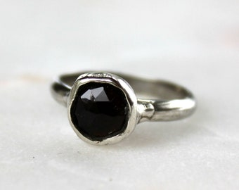 tourmaline ring, hand carved, smokey tourmaline, silver ring, rose cut, gifts for her, recycled silver
