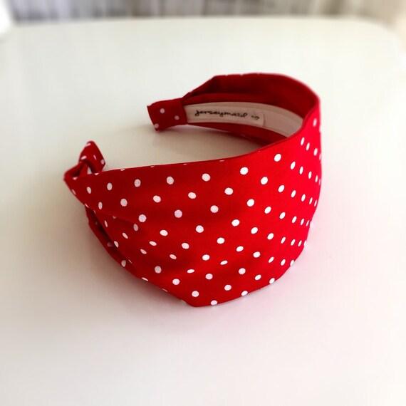 Red Polka dot headband polka dots hairband fabric red with  7a857cba0e6