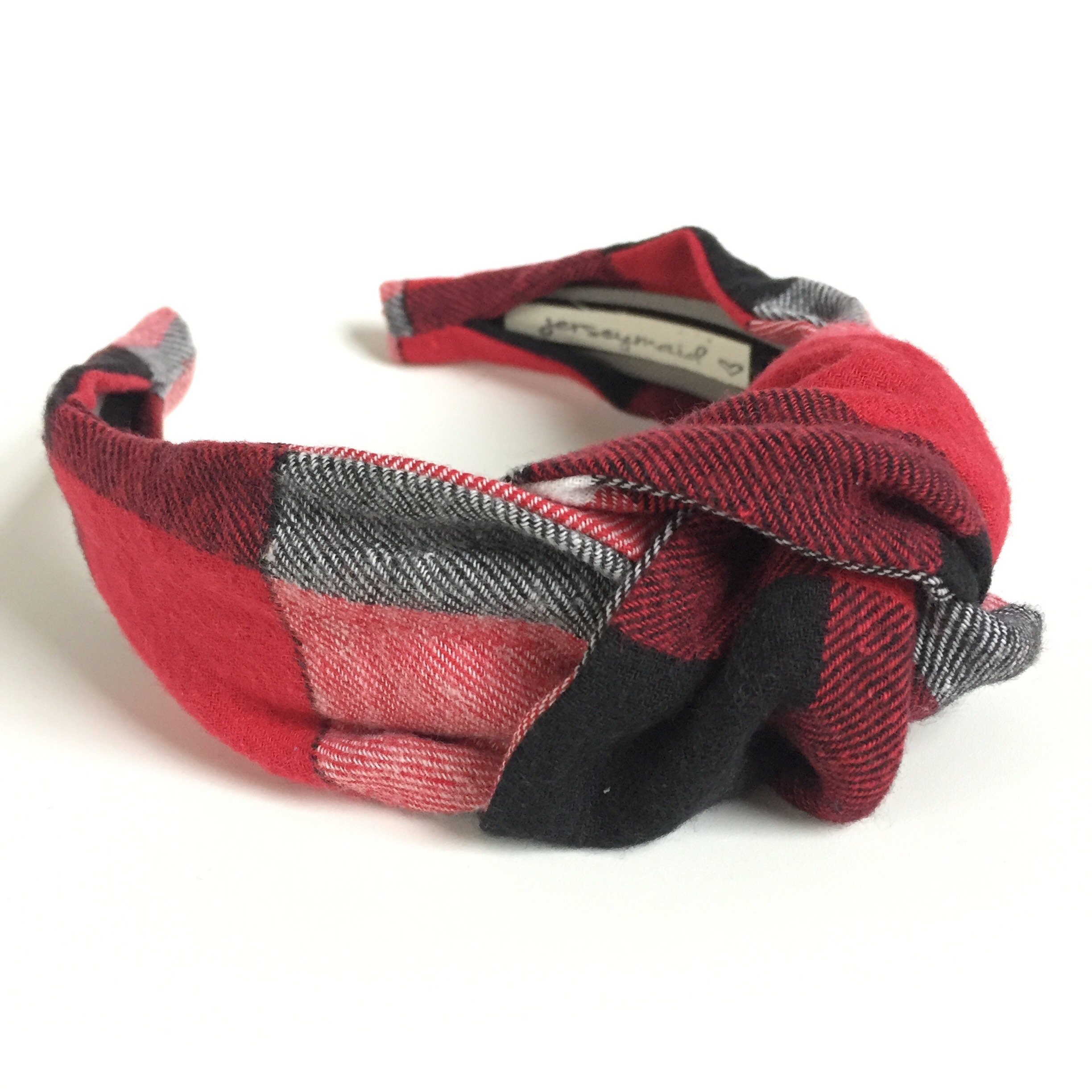 1e3418cd7dda7 Buffalo Plaid Top knot headband red black & white 40's vintage style  hairband hair accessories no slip stay on knotted head band for women