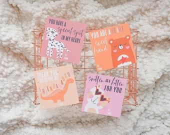 Printable Animal Valentine Cards, Smitten As A Kitten, Thanks For Being My Friendasaurus, Dinosaur Valentine, Cute Valentine Card, Kids Vday