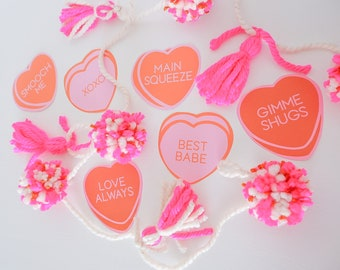 Printable Conversation Hearts, Galentines, Valentine Cards, Galentine Party, Valentine Hearts, XOXO, Best Babe, Main Squeeze