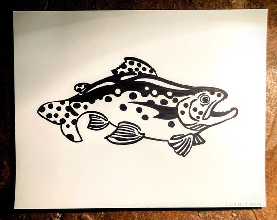 Original Sharpie Trout Drawing - 11x14