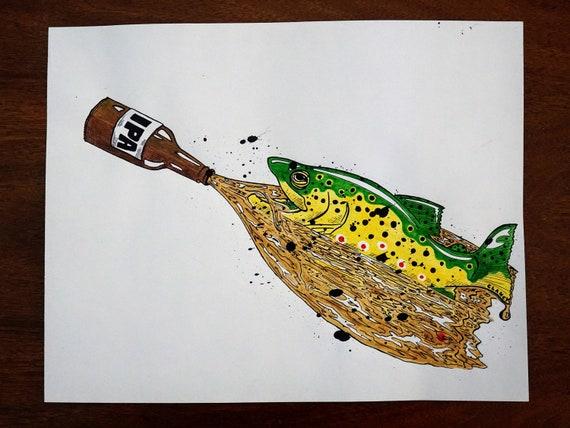Original River of Beer Pen & Ink Drawing - 11x14