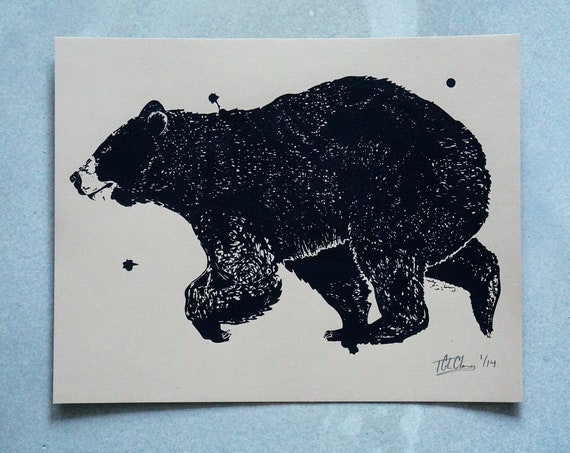 Ink Bear Silkscreen Print - 11x14 - Limited Edition on Kraft Brown Cardstock