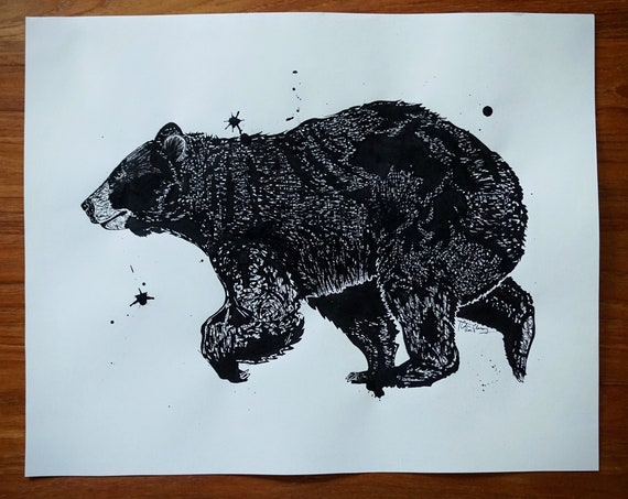 Original Black Bear Pen & Ink Drawing - 16x20