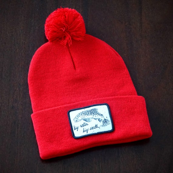 Big Water Big Earth Red Pom Beanie