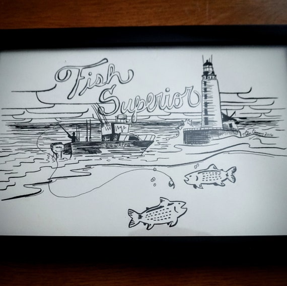 Original Fish Superior Pen & Ink Drawing - 8x12