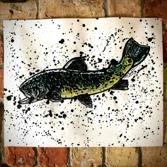 Original Tiger Trout Painting - 16x20