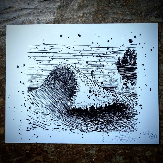 Silkscreened November Gale Wave Print - 11x14 - Limited Edition