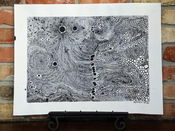 "Original Abstract Pen & Ink Drawing - ""Quarantine"" - 18x24"