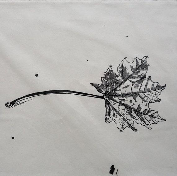 Original Maple Leaf Pen & Ink Drawing - 9x12