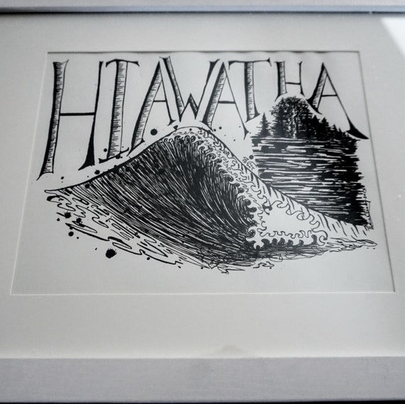 Original Hiawatha Wave Pen & Ink Drawing - 8x10