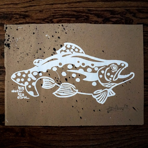 Limited Run Silkscreen Bold Sharpie Trout Print