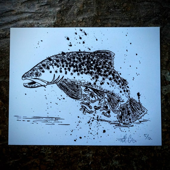 Silkscreened Jumping Brown Trout Print - 11x14 - Limited Edition