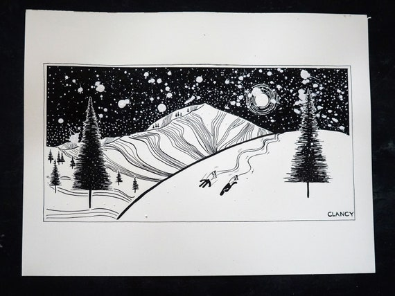 "Original Ski Pen & Ink Drawing - ""Mt. Millicent - Brighton, Utah"" - 12x16"