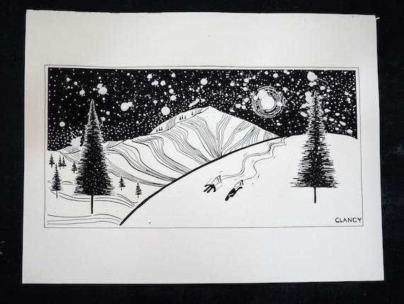"""Original Ski Pen & Ink Drawing - """"Mt. Millicent - Brighton, Utah"""" - 12x16"""
