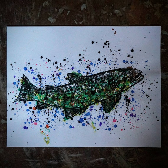 Original Ink Splatter Brown Trout Pen & Ink Drawing - 11x14