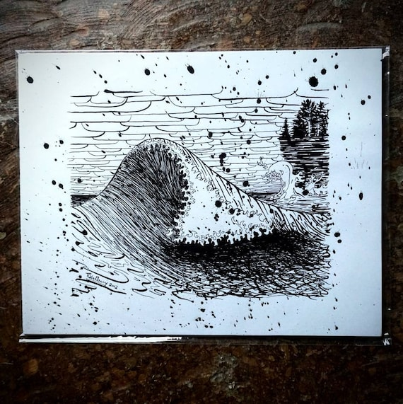 Original November Gale Wave on Lake Superior Pen & Ink Drawing - 11x14