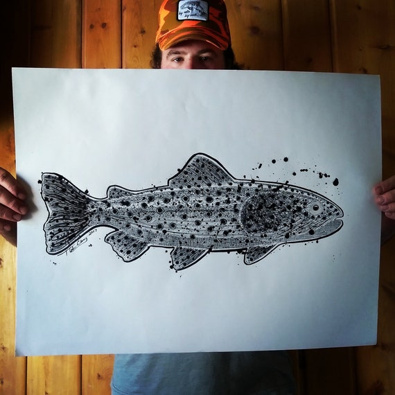 Original Big Trout Pen & Ink Drawing - 18x24