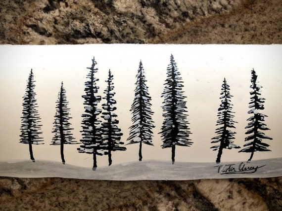 "Original India Ink Painting - ""Tree Study"" - 12x5"