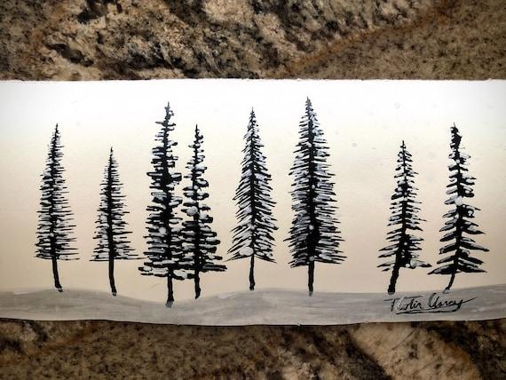 "Original India Ink Painting - ""Tree Study"" - 12x5"