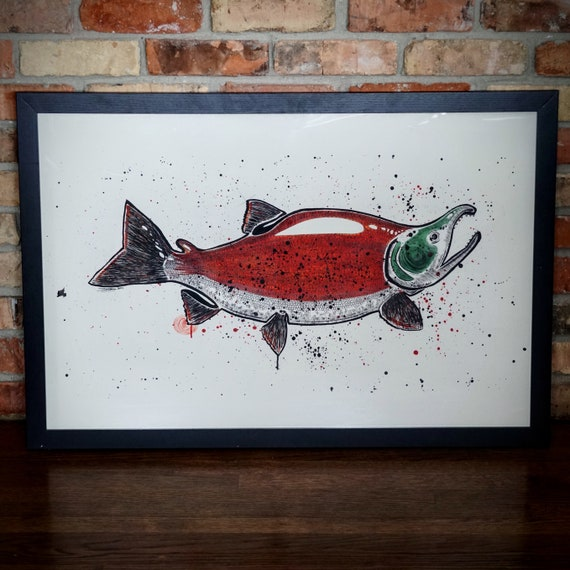 Original Big Spawning Sockeye India Ink Painting - 23x34