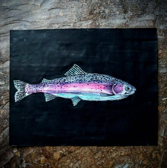 Original Little Rainbow Trout Pen & Ink Drawing - 11x14