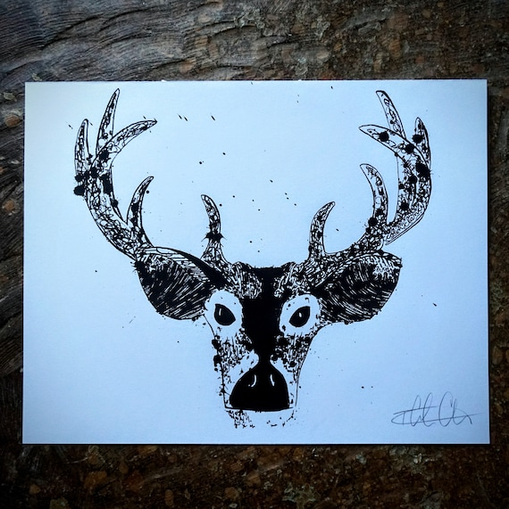 Silkscreened Buck Deer Print - 11x14