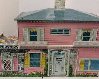 Vintage T. Cohn  Pink Tin Litho Dollhouse -- 1950s, 5 Rooms and Patio, Front Door, Chimney & Window Boxes Intact