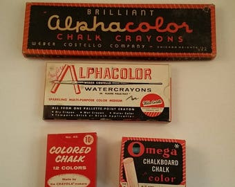 4 Boxes of Vintage Colored Chalk in Original Boxes - Alphacolor Chalk Crayons, Water Crayons, Crayola and Omega Chalk, Art / School Supplies