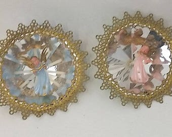 3 Vintage Plastic Christmas Angel Ornaments, Mirrored --  Pink and Blue with Gold Trim, 4.5 Inches  - Midcentury Holiday Decor