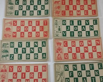 12 Vintage Word Lotto / Bingo Cards from 1930s or 1940s Game-- Red and Green, Great Graphics, for Paper Crafts, Ephemera or Game Collector