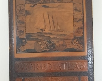 Vintage Book: 1943 Rand McNally World Atlas, Readers Edition, WWII Era, Leather Cover, Complete but Only Fair Condition, 2 Page Maps