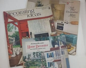 3 Vintage Sherwin Williams Catalog / Flyer, 1960s Color Trends, Midcentury Decorating Ideas -- 1960, 1967, 1969 -- Midcentury Home Decor