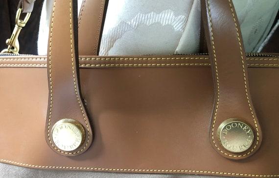 3544b02d4c85 ... Vintage Dooney Bourke Tan Cloth Travel Bag with Leather Trim and Shoulder  Strap