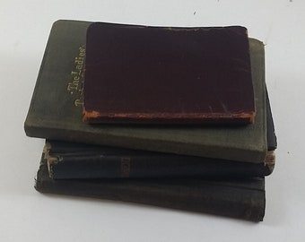 4 Small Vintage Religious Books: 1867 New Testament, 1950 Ladies Pocket Prayer Book, 1887 Gospel Hymns No. 5, and 1915 Hand-written Quotes