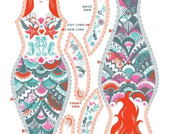 Meryl the Mermaid Tea Towel / Cloth Kit - A silkscreen design by Sarah Young
