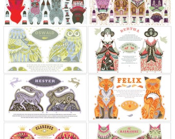 Any 8 Tea Towel / Cloth Kit Designs for the price of less than 6 - designs by Sarah Young