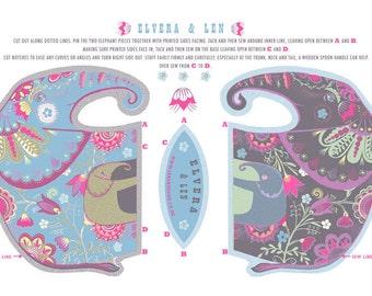 Elvera & Len Tea Towel / Cloth Kit - A silkscreen design by Sarah Young