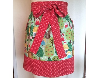 Fairytale Forest Half Hostess Apron Woodland Creatures with Polka Dots
