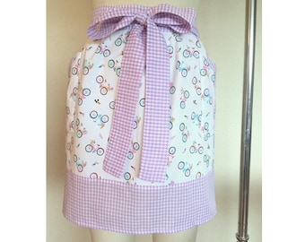 Bicycle Half Hostess Apron with Gingham Trim