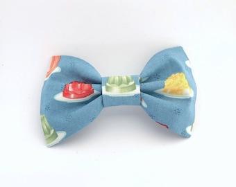 Turquoise Retro Jello Mold Bow Tie Hair Clip